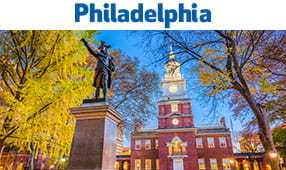 Philadelphia, PA - statue and stately building